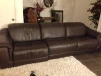 Beautiful rich brown real leather couch and love seat.