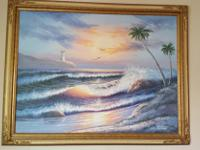 "Beautiful Light House View Painting - 55"" x 43""Asking $"