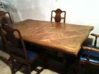 Large Maple table cir. 1940's-50's with 4 chairs with