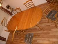 "High quality ""sunlit"" oak finish table and matching"