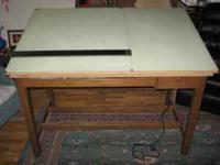 "Beautiful 38"" x 60"" oak 4 post Hamilton drafting table"