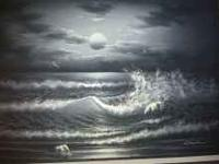 Absolutely gorgeous painting of the ocean at night.