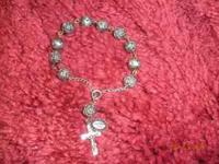 Very nice antique rosary bracelet. 11 rose beads. Not