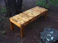 Beautiful table made entirely from re-cycled wood.