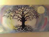This peace sign tree painting was bought by the painter