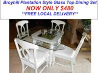 Here is a Beautiful Plantation Style Glass Top Dining