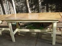 These tables are perfect for outdoor use. The tops are
