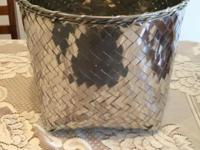 "Beautiful Riado Weave Metal Basket. Size: 12-1/2""H x"