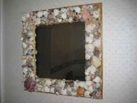 "Beautiful shell mirror - dimensions: approx. 19""X19"""