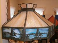 In perfect condition, beautiful slag glass lamp shade