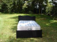 Beautiful strong wood black complete size bed with head