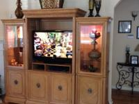 "Beautiful Solid Wood Entertainment Center, 96"" wide,"