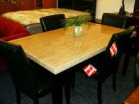 NICE 'MARBLE LOOK' TABLE WITH 4 PARSONS CHAIRS!! ONLY