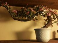 Beautiful Vintage Glass Bonsai Tree...pink and white