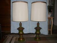 Beautiful pair of vintage 1950's-60's green and gold