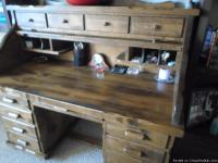 Contemporay style. Solid oak vintage roll top desk. The