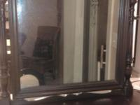 Beautiful vintage wood tilt shaving mirror or dresser