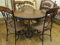 $300 ~ Beautiful wood and Iron Dining Table w/ 4