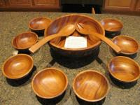 Lovely Wooden Salad Bowl Set serving for 8 - Purchased