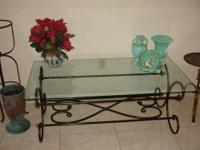 Beautiful Wrought Iron / Glass Coffee Table - Styled in