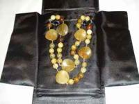 Beautiful Agate Necklace. Brown, tan, beige, cream