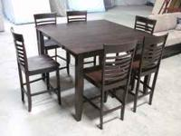 BEAUTIFUL ALL WOOD COUNTER HEIGHT DINING SET W/ LEAF!