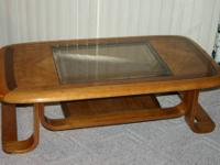 Oak finished Coffee Table with smoked beveled Glass