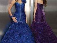 Beautiful One shoulder iridescent organza, royal