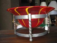 FOR SALE  Gorgeous red and yellow glass bowl in metal