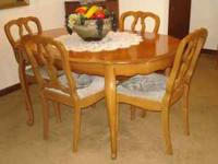Vintage 1960's solid fruitwood dining set. Oval table,