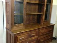 Beautiful, well-made, solid walnut hutch. Excellent
