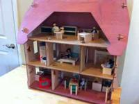 Beautiful Wooden Doll House filled with all sorts of
