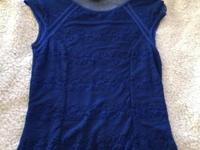 Bebe royal blue lace and sheer top Size medium This ad