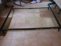METAL BED FRAME, WITH WHEELS, GOOD CONDITION, FITS FULL