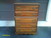 LIGHT MAHOGANY FULL BEDROOM SET: DRESSER AND MIRROR,
