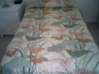 Bed spread for sale, twin size, soft yellow, sage