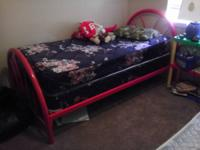 Red metal kid's twin bed including mattress, box,