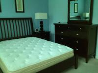 Queen bed, dresser/mirror, 2 night tables, and pillow
