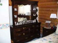 4 PIECE BEDROOM SET DRESSER AND MIRROR - TWO NIGHT