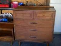 Older..real wood...queen size bed frame...long dresser