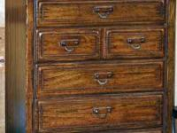 Solid wood chest of drawers, bedside table, mirror and