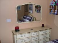 French Provincial bedroom set, wood construction with
