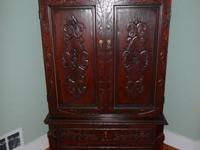 Set of two beautifully hand carved furniture pieces.