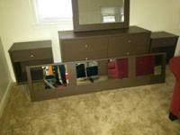 Includes dresser w mirror, 2 nights, and hanging king