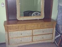 Bamboo bedroom set, in excellent condition, headboard,