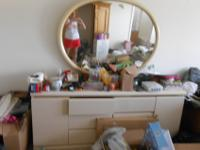 White wooden dresser with mirror and two smaller
