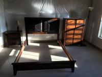 Three piece set, dark brown. Bed frame with leather