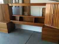 Queen size oak bedroom set for sale from a non