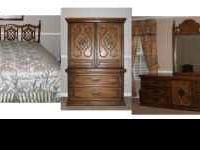 3 Piece All Wood Bedroom Set with Mattress and Bedding