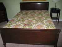 1940s solid mahogony bedroom suite - full size bed with